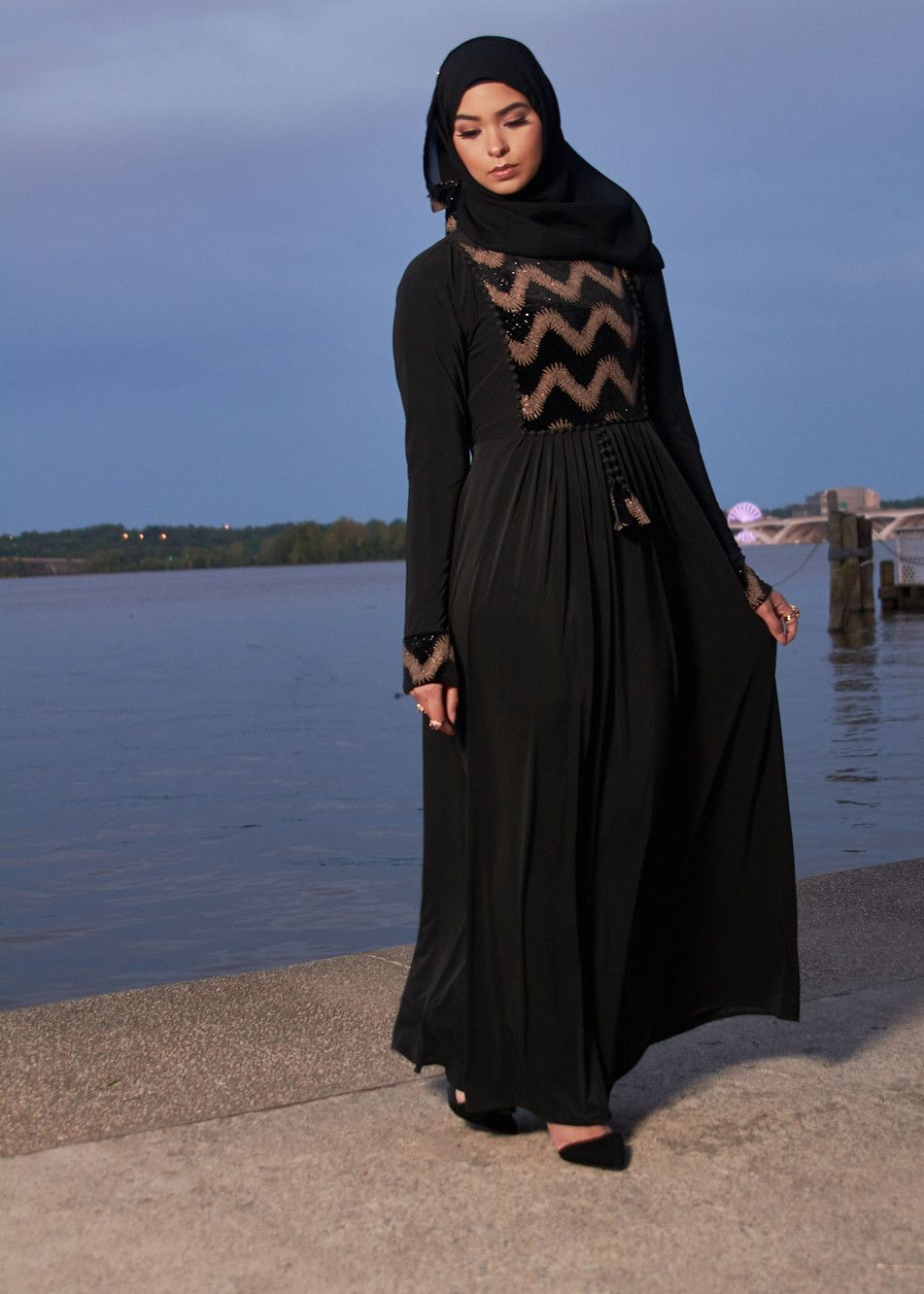 34c1d8c09b Feminine a-line dress abaya design with pleated skirt. Ties behind the  back. Pair with matching scarf for a more formal look. Light-weight Stretch  Pleated ...