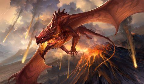 Red Dragon V2 By Sandara Lava Fire Volcano Flying Fire Breathing
