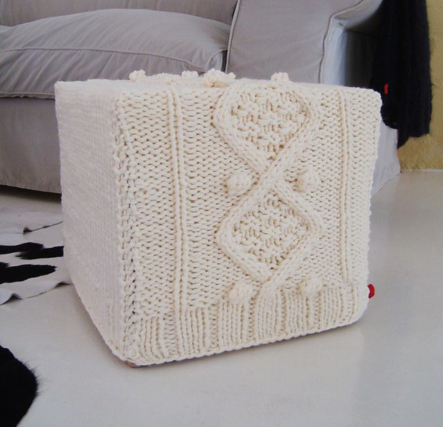 Knitting Pattern For Chunky Aran Cable Ottoman Slip Cover