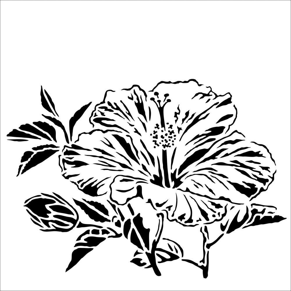 The Crafter S Workshop Hibiscus 6x6 Stencil Tcw915s In 2020 Stencils Tattoo Stencil Outline Outline Designs