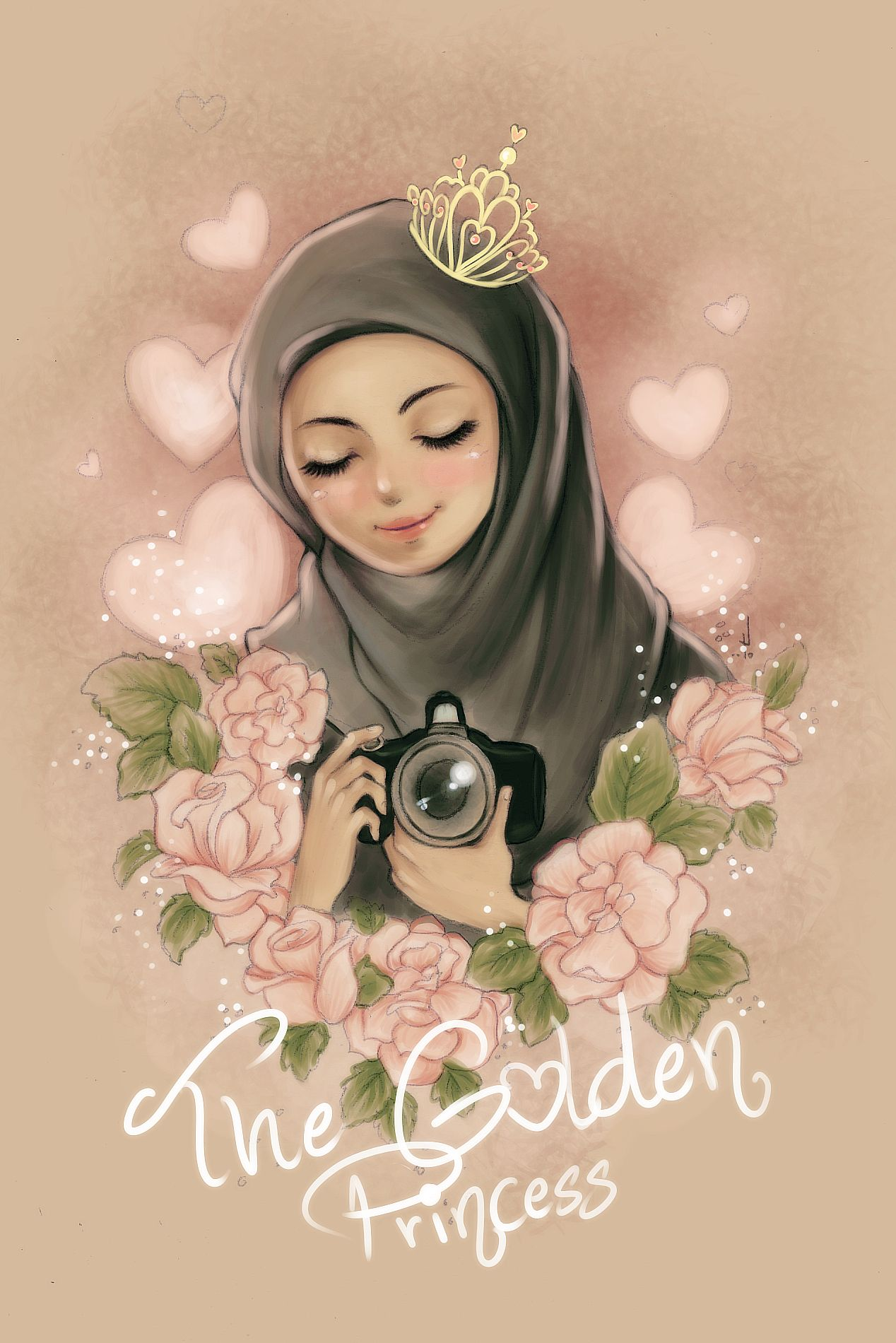 Hijab Crown Cartoon / Flower crown hijab tutorial (cover front and back) | nadia syamila.