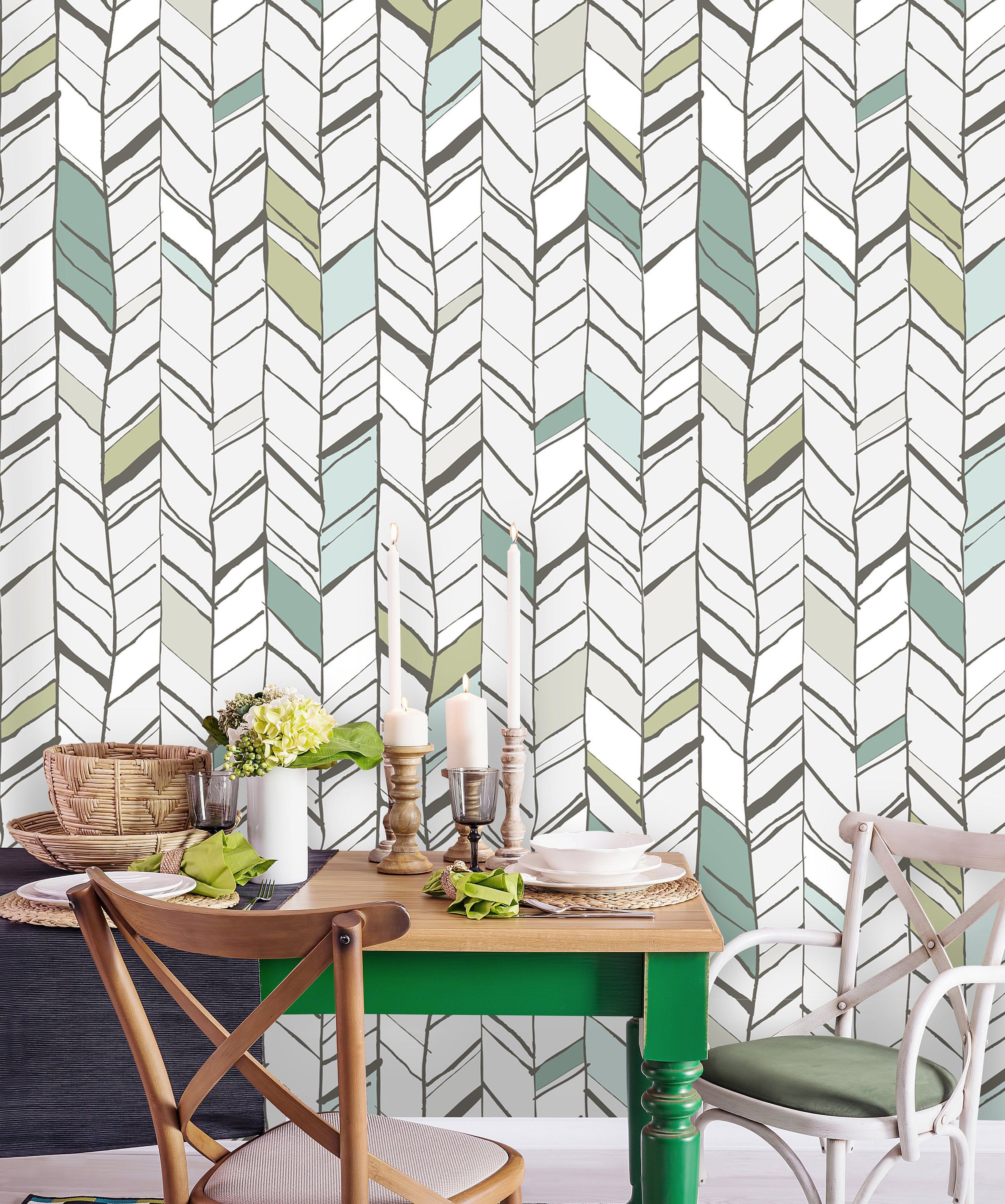 Removable Wallpaper Peel And Stick Geometric Mural Self Etsy Removable Wallpaper Vintage Wallpaper Wallpaper