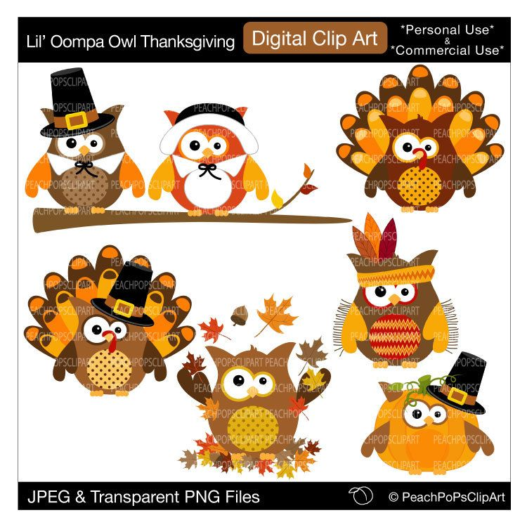 Cute Thanksgiving Owls Clip Art Clipart By Peachpopsclipart Owl Clip Art Owl Card Thanksgiving Owl