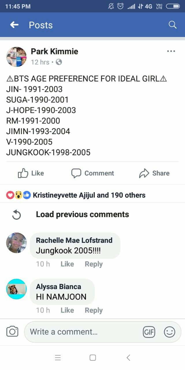 bts dating age