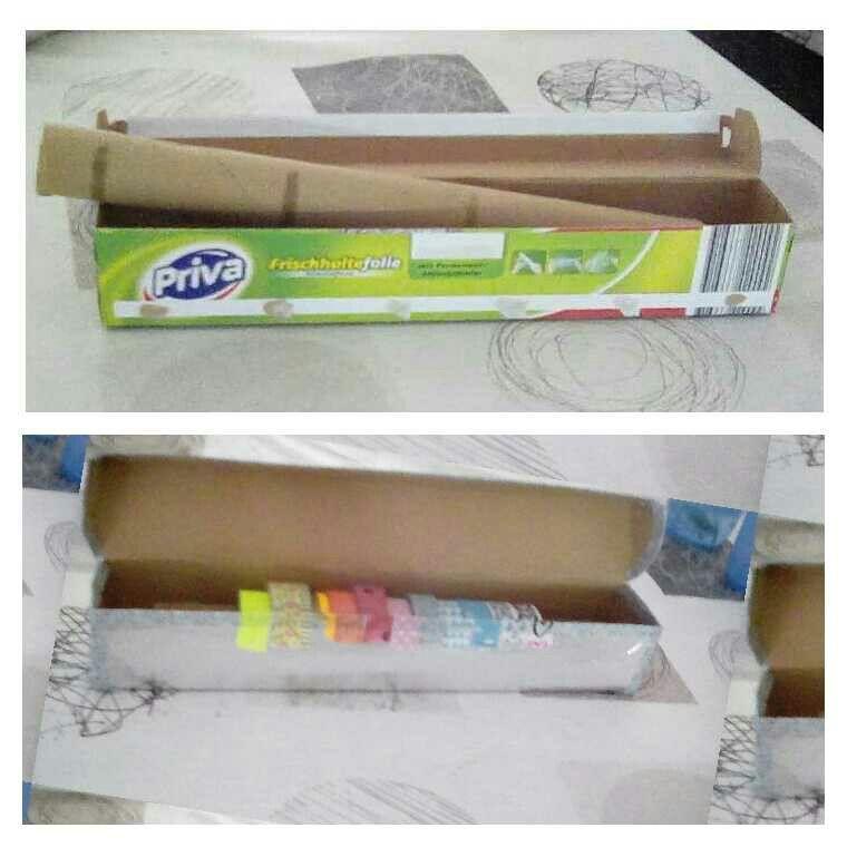 Ich habe aus einer backpapier packung ganz einfech eine kleine Aufbewarung für Washi Tabe gemacht.