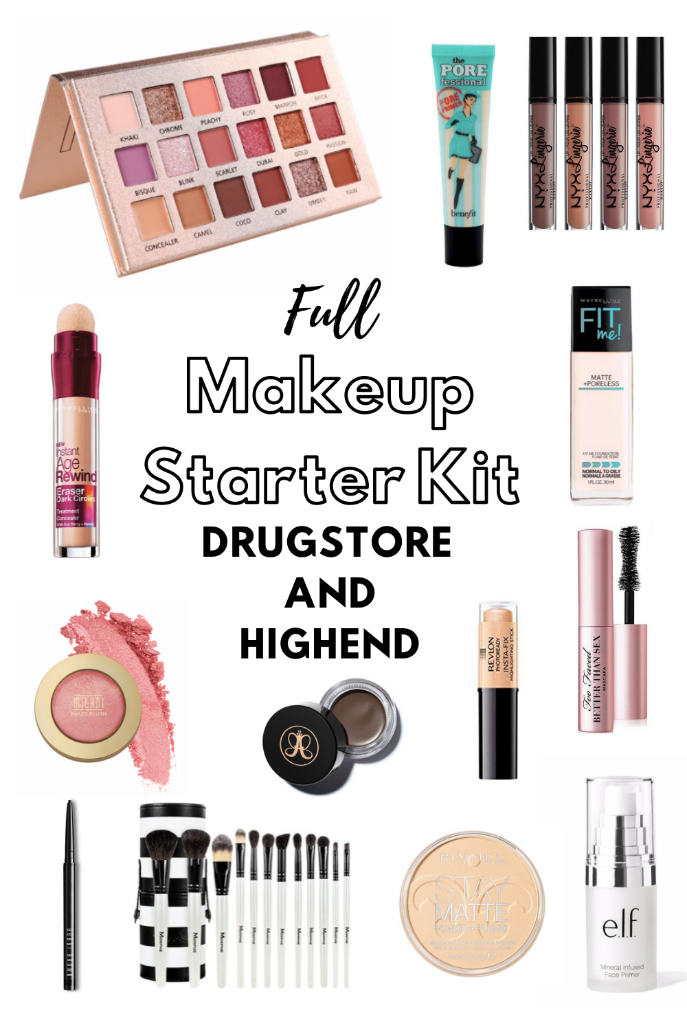 Drugstore Vs High End Makeup Starter Kits For Beginners In 2020 Makeup Starter Kit Makeup Kit Drugstore Makeup