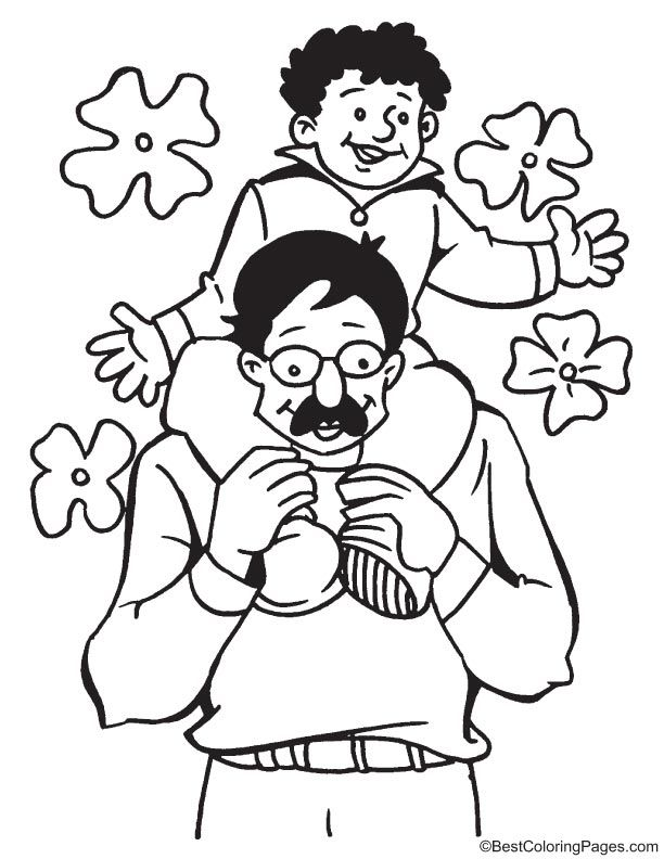 Rest On Fathers Shoulders Coloring Page Coloring Pages Fathers
