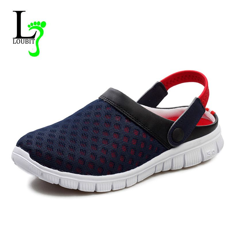 Men's Summer Shoes Sandals Breathable Men Slippers Mesh Lighted Casual Shoes Outdoor Slip On Shoes
