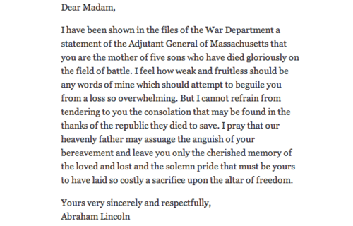 Abraham Lincoln's letter to MS Lydia Bixby, who lost 5 sons in the