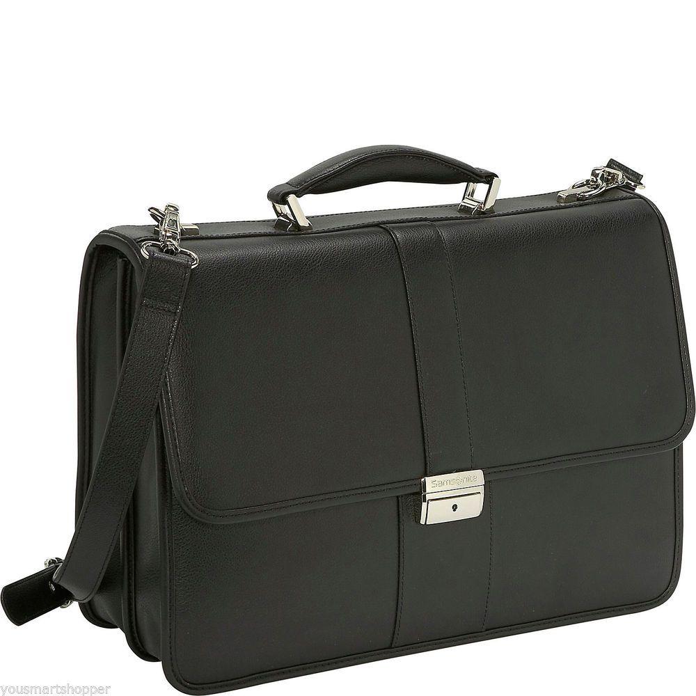 Samsonite Genuine Black Leather Messenger Briefcase Laptop Shoulder