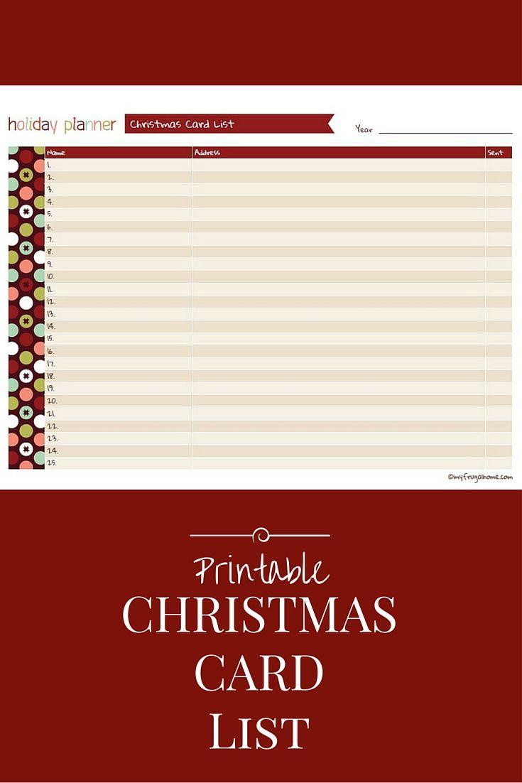 printable christmas card list | christmas | pinterest | christmas