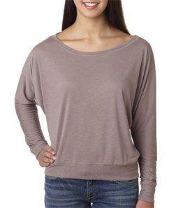 Bella Ladies 3.7 oz. Long-Sleeve Flowy Off Shoulder T-Shirt - WHITE - S $9.82