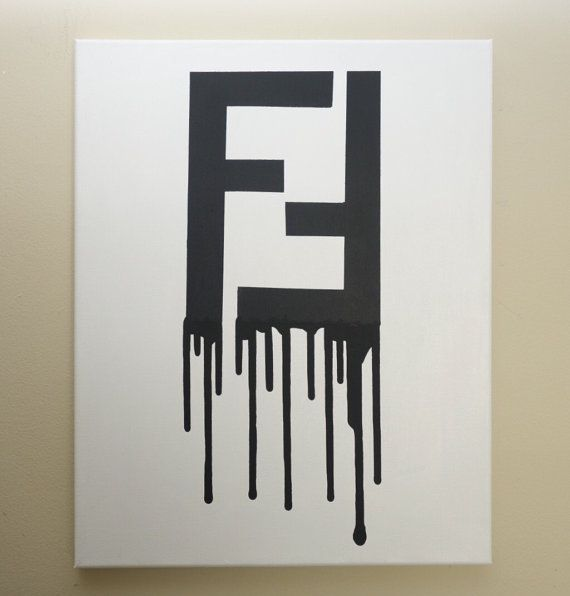 Fendi Drip (16x20 Acrylic Painting) Fendi Inspired Pop Art, White And Black,