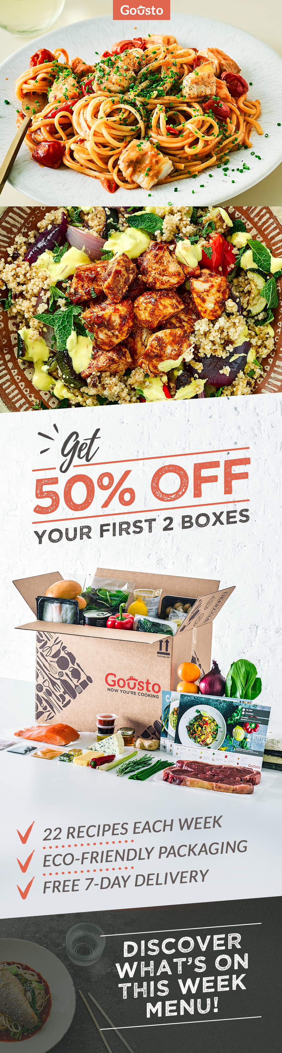 Try gousto now get 50 off your first 2 recipe boxes cooking made try gousto now get 50 off your first 2 recipe boxes cooking made forumfinder Image collections