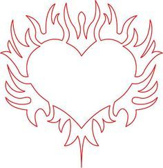 coloring pages of hearts with flames Google Search Food