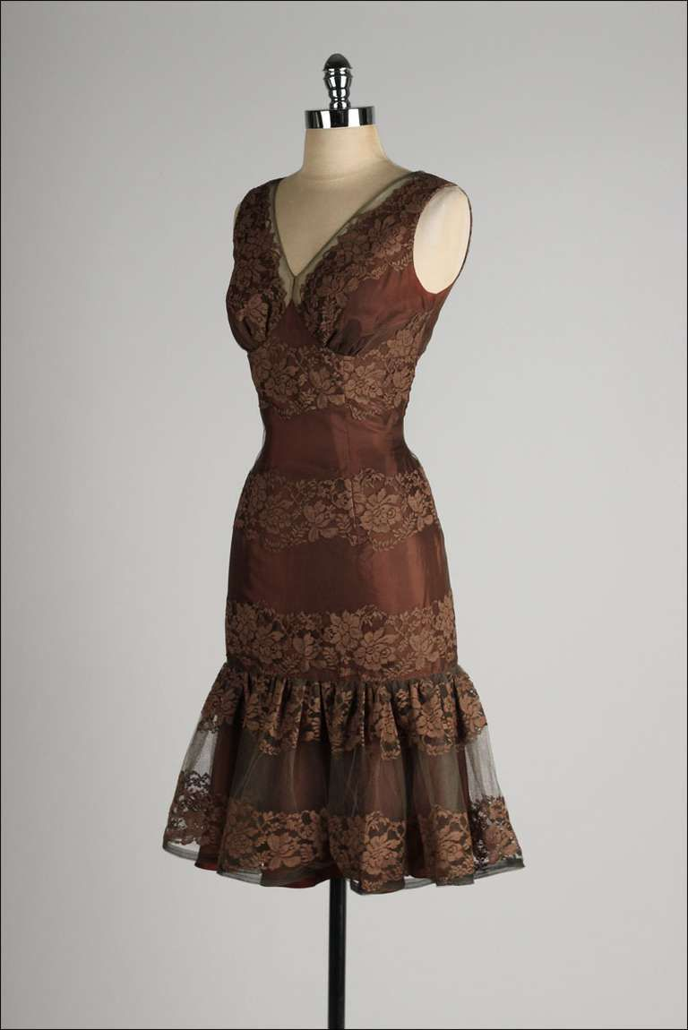 Vintage 1950\'s Chocolate Brown Lace Cocktail Dress | Lace cocktail ...