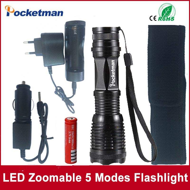 2017 Hot Sale Led Flashlight 2000 Lumens Xml T6 Led Torch Zoomable 5modes Led Torch Light Lampe Torche 18650 B Flashlight Accessories Led Flashlight Flashlight