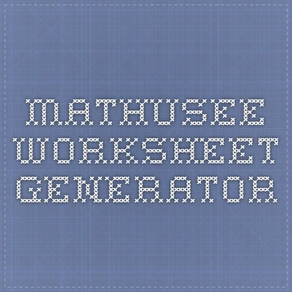 MathUSee Worksheet Generator... \