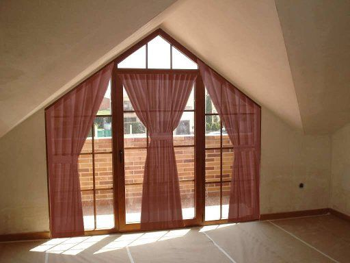 cortinas para ventanas triangulares Decoración Rústica Pinterest