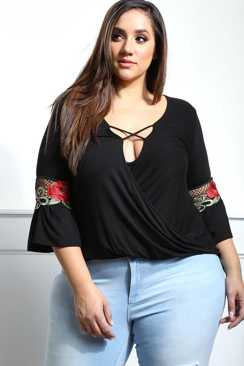 be chic today with this girly plus size plunging top made with