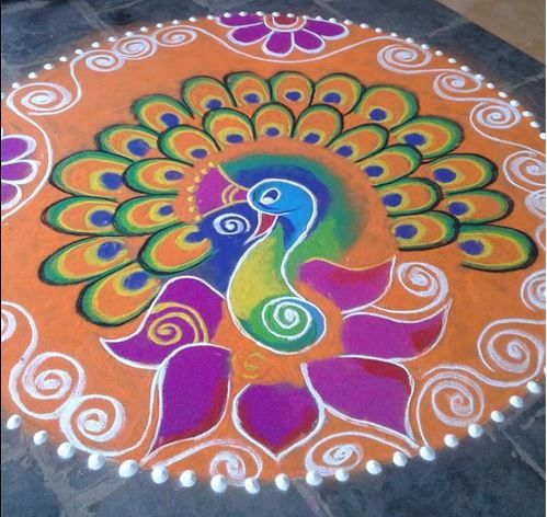 Peacock Competition Winning Rangoli Designs