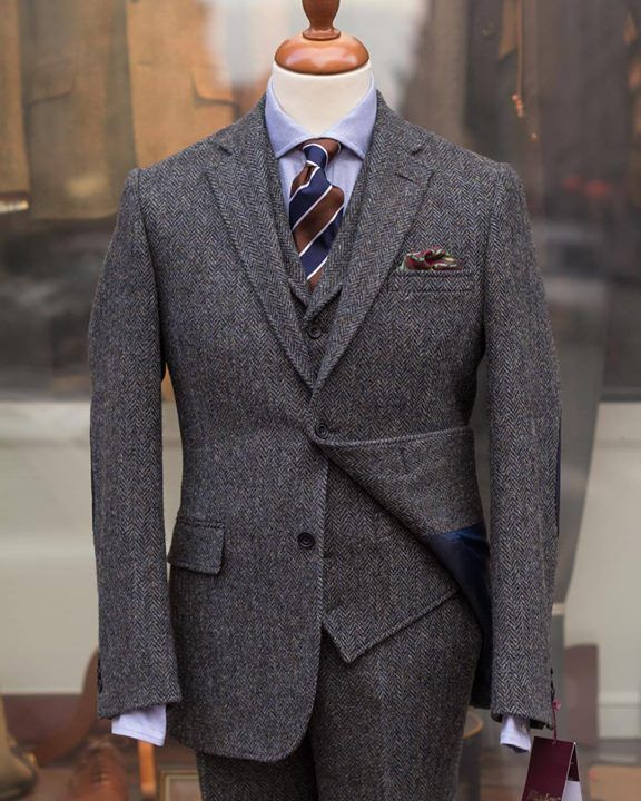 dark grey tweed suit light blue shirt navy amp brown