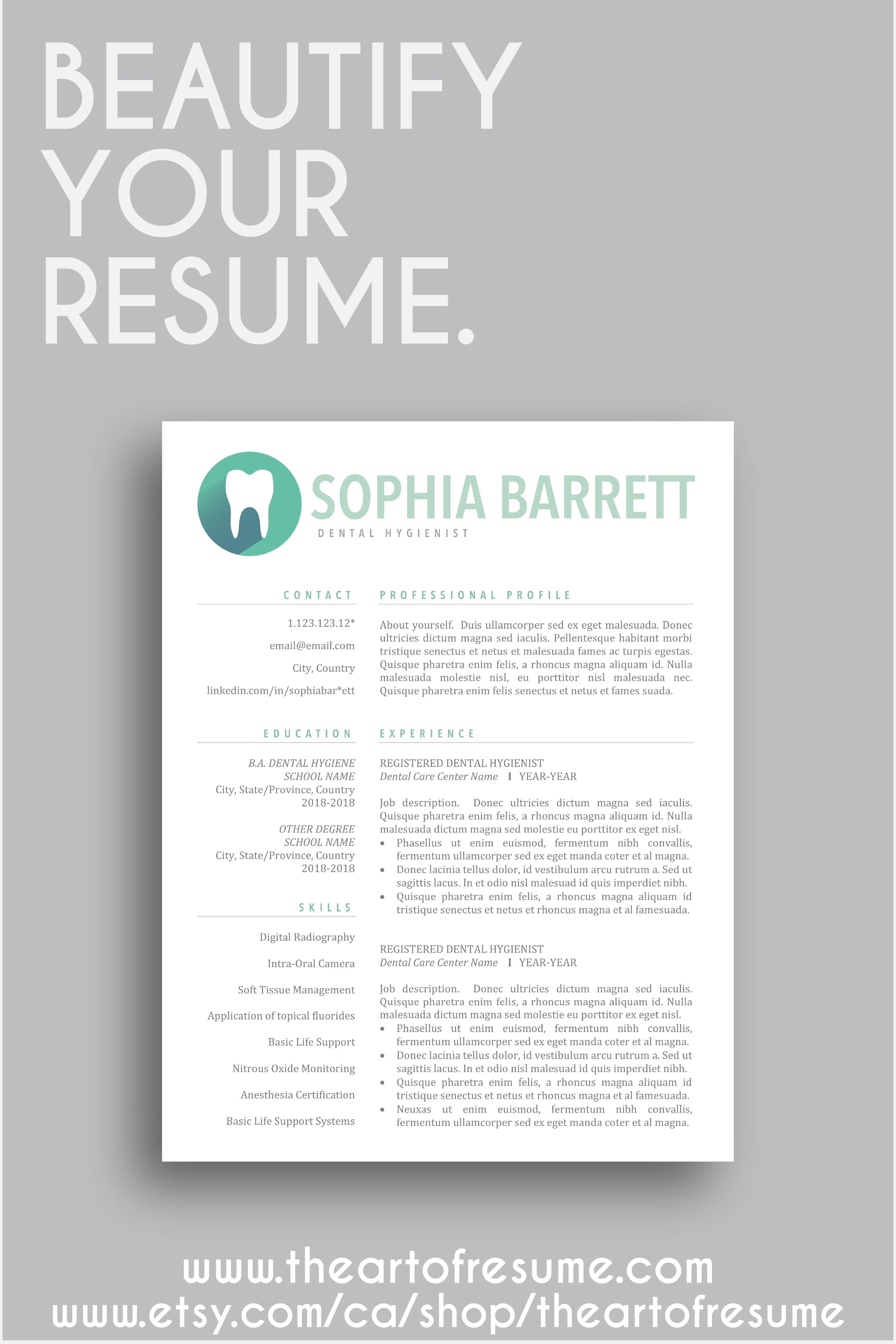 Dental Hygienist Resume CV Dentist Template Assistant