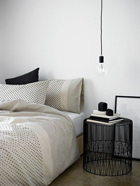 hangeleuchte-gluhbirne-schlafzimmer-lampen-designer-nachttisch - schlafzimmer ideen licht