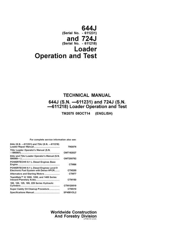 pdf download john deere 644j 724j wheel loader operation and test