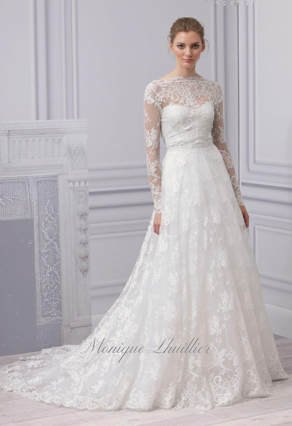 Monique Lhuillier Lace Wedding Dress With Sleeves Wedding Dress Long Sleeve Wedding Dresses Lace