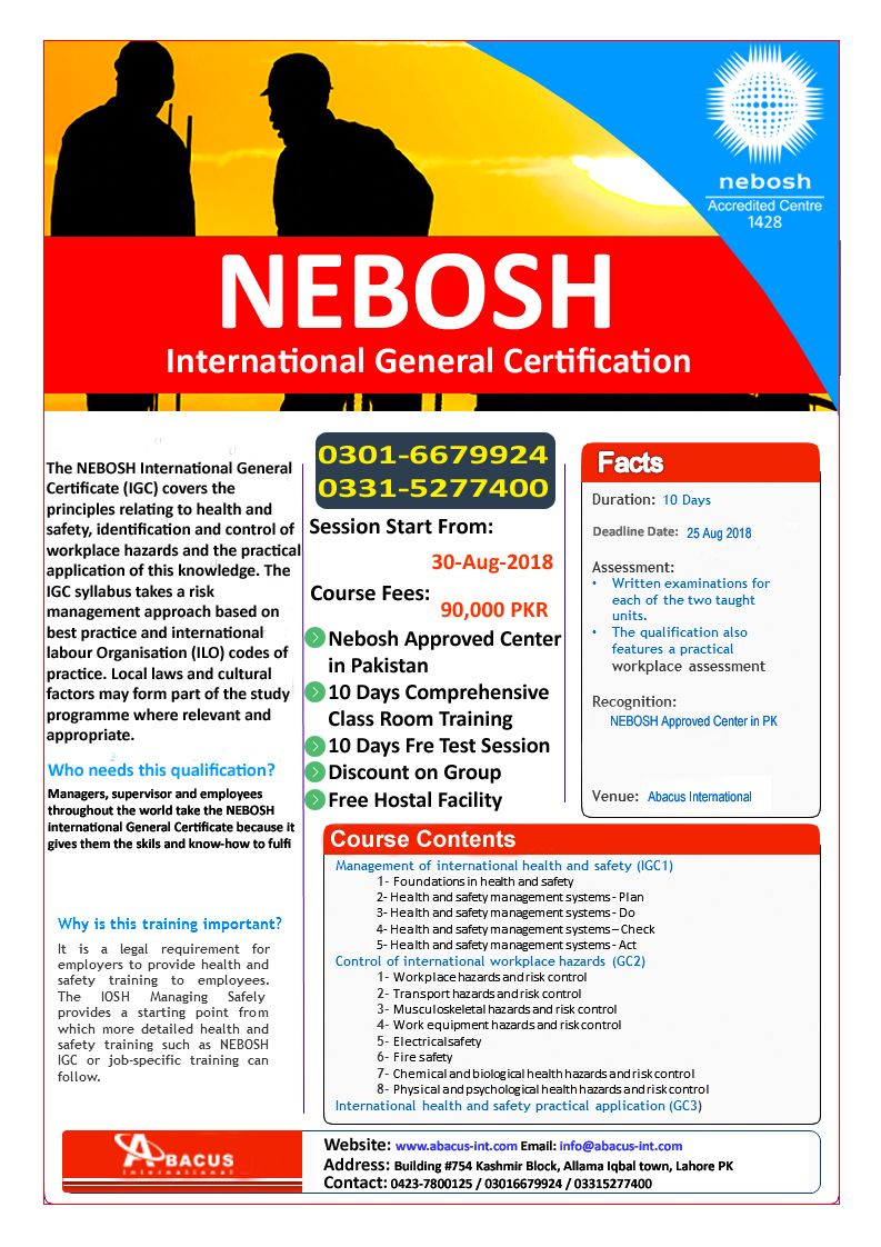 NEBOSH IGC Course in Lahore Pakistan Lahore pakistan