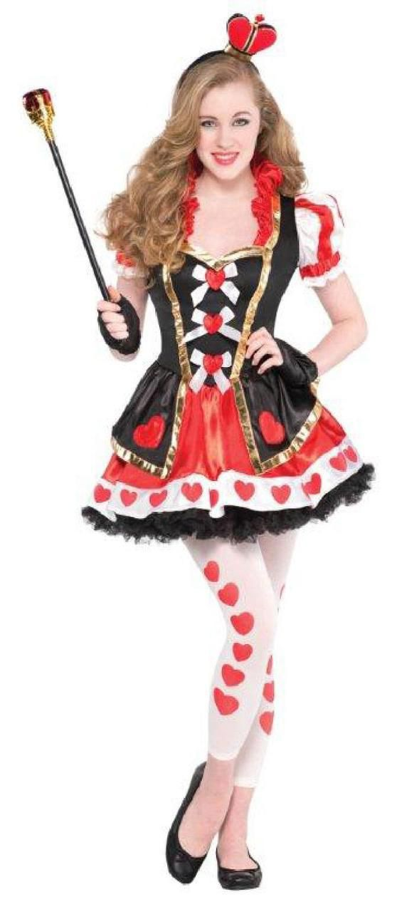 This costume includes a red, black and white dress, black - cute teenage halloween costume ideas