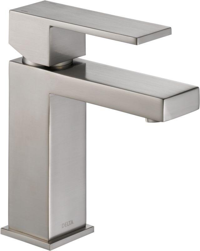 Delta 567lf Pp Angular Modern Single Hole Bathroom Faucet With Pop