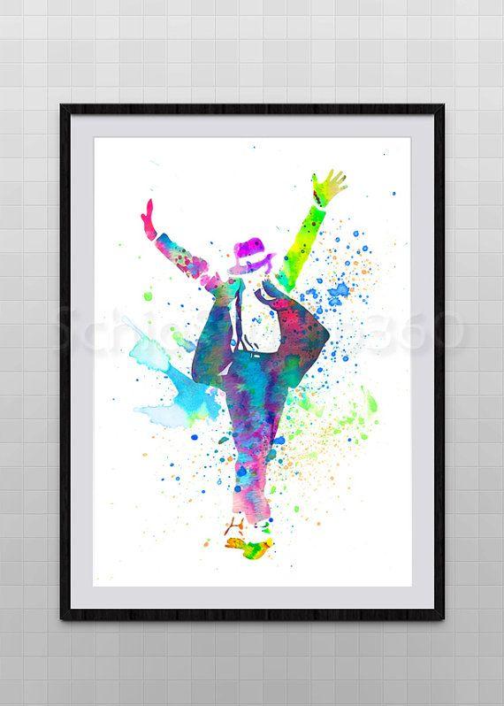 Michael Jackson Watercolor Art Print Wall Art - MJ Geekery Home ...