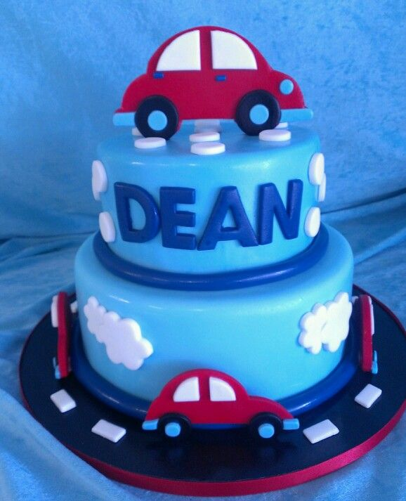 Boys car cake Carson 1st Bday ideas Pinterest Car cakes Cake