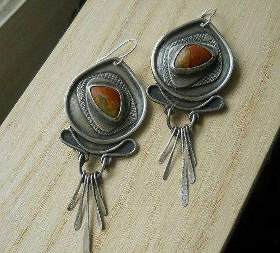 cherry creek jasper earrings dangle by Q2jewelrycollection on Etsy