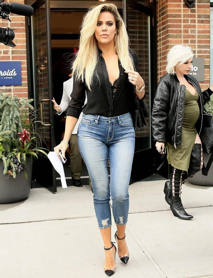 Khloé Kardashian Wears Plunging Top, Lacy Bra, and Skinny Jeans in N.Y.C.