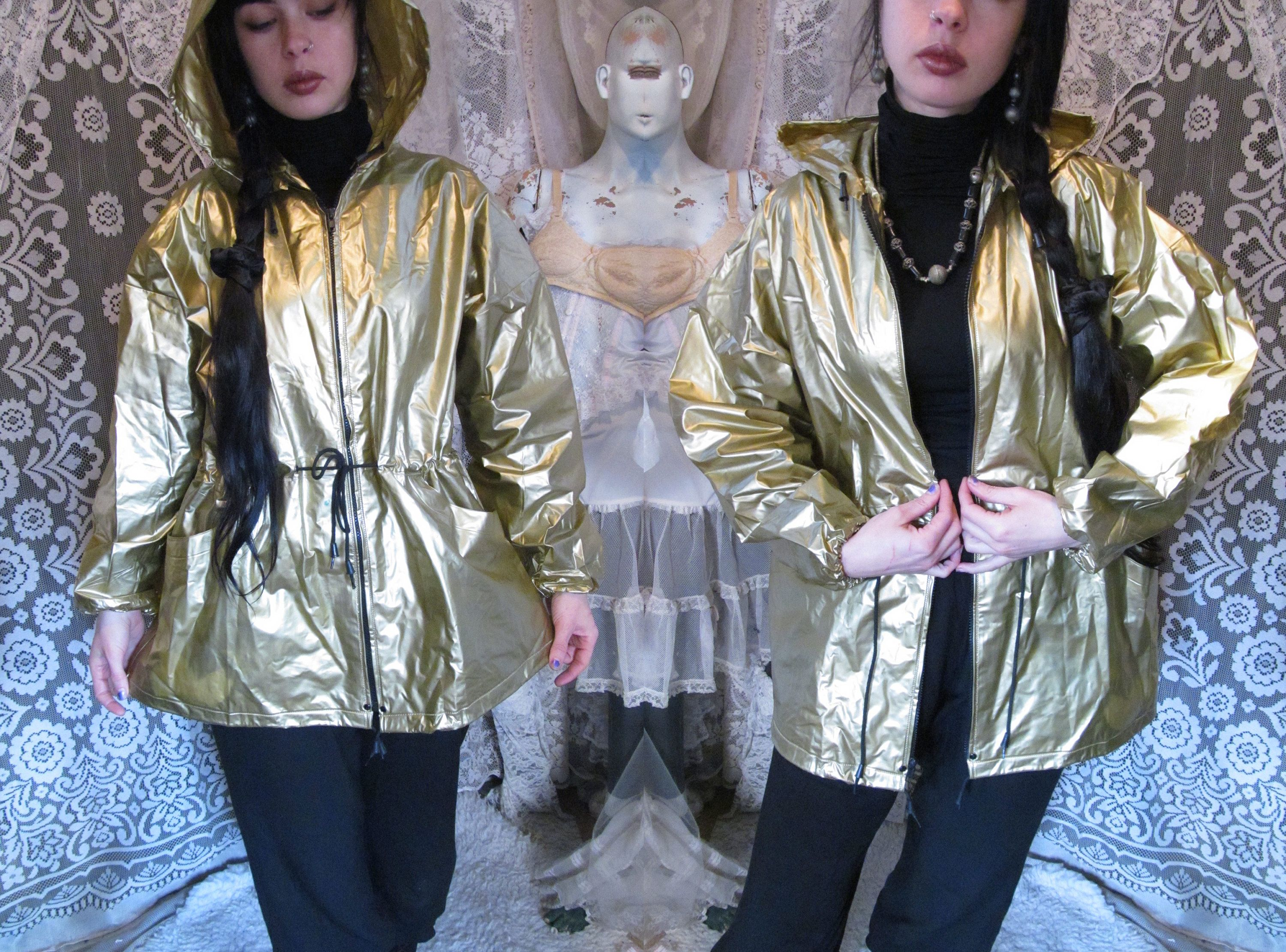 Gold Vinyl Raincoat 80s 90s Hooded Pointed Hood Pvc Shiny Etsy In 2020 Vinyl Raincoat Gold Vinyl Vintage Outfits