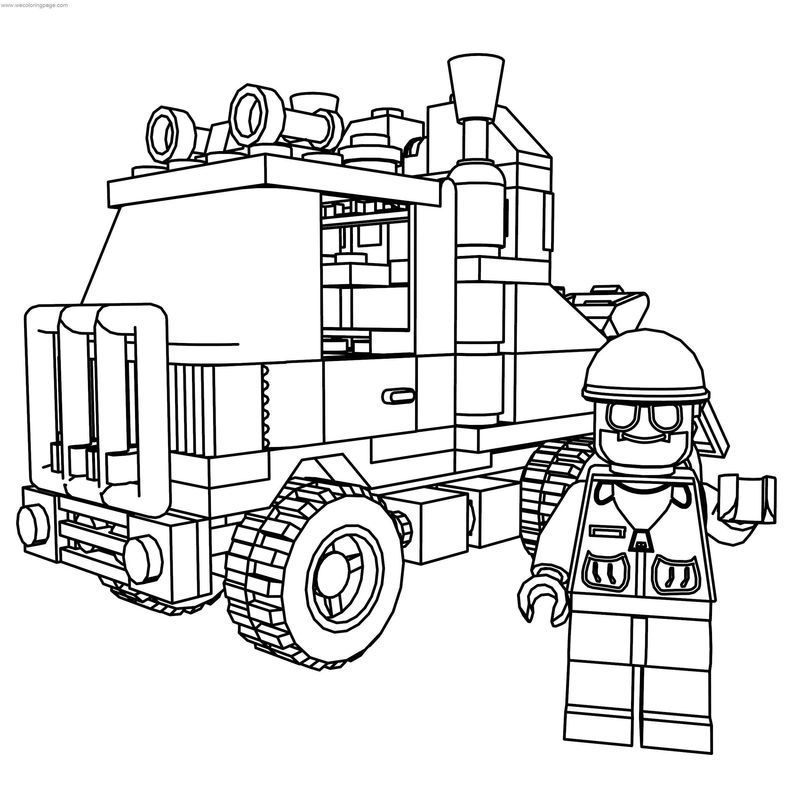 Lego System 6670 Rescue Truck And Drive Coloring Page di 2020