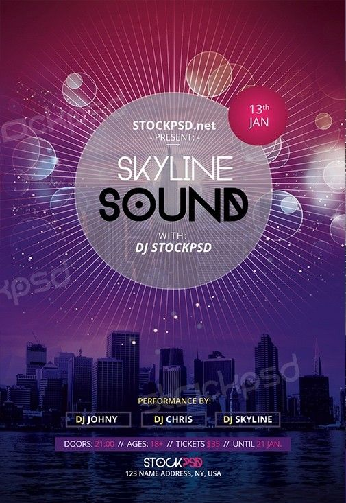 Skyline Sound  Download Free Psd Flyer Template  Free Psd Flyer