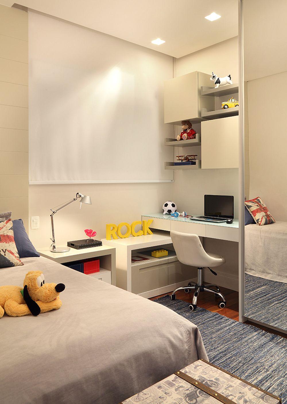 Distribuci n de armario escritorio y cajera debajo de la ventana dormitorio infantil decorar - Distribucion habitacion juvenil ...