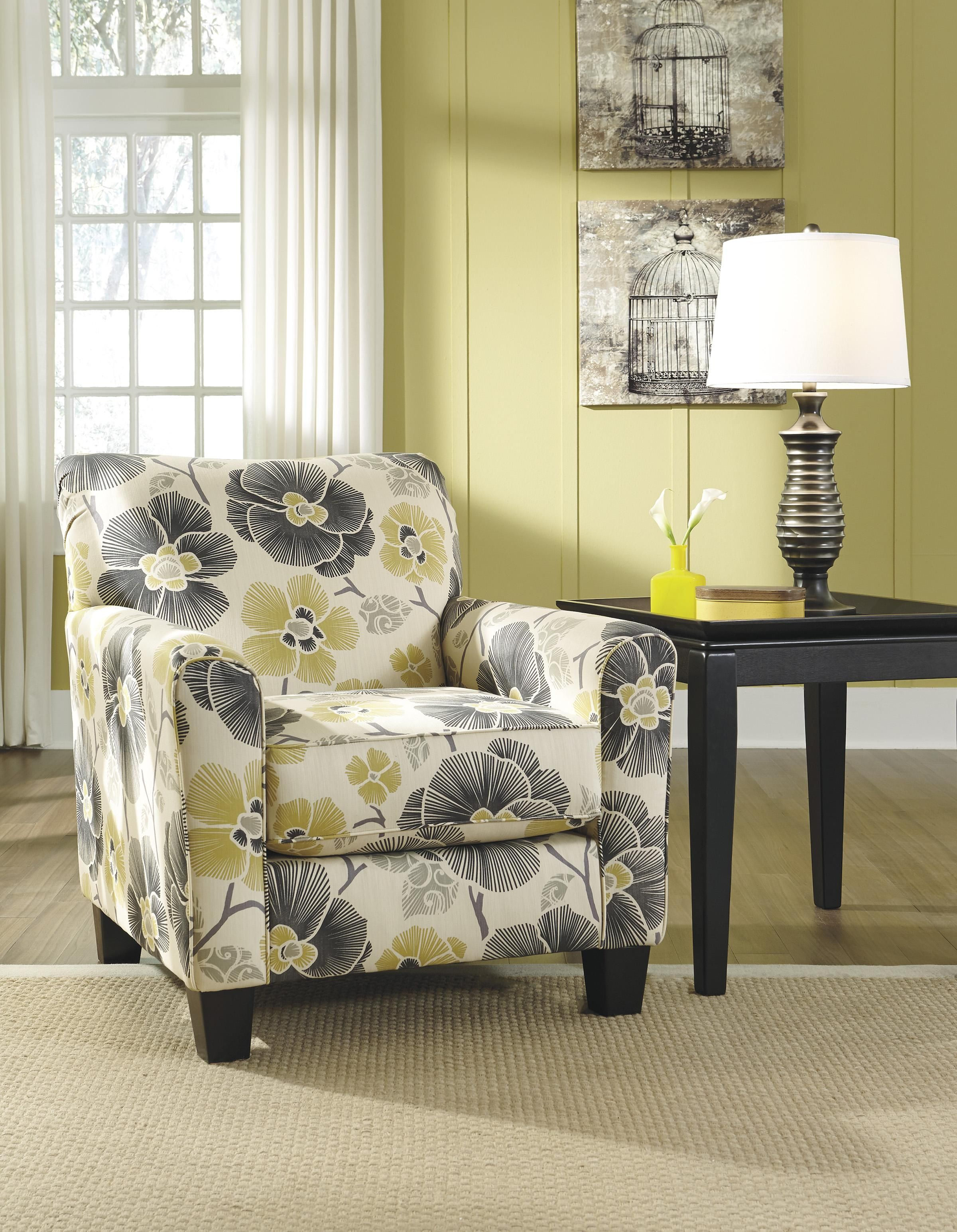 Benchcraft Safia Slate Contemporary Floral Accent Chair