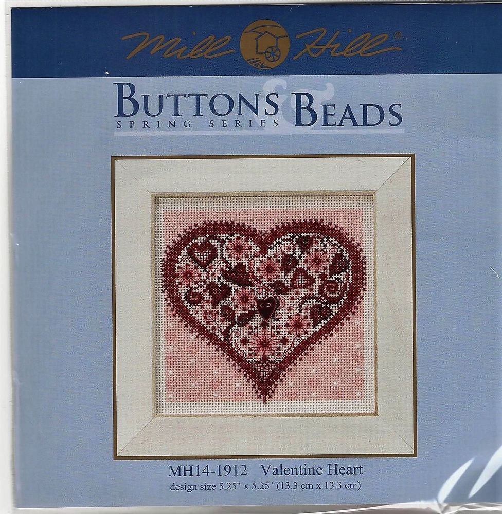 MILL HILL BUTTONS /& BEADS SPRING Series Cross Stitch Kit VALENTINE HEART