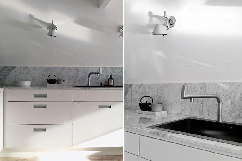 cocina-blanca-marmol-carrara | .-C | Pinterest | Marmol carrara ...