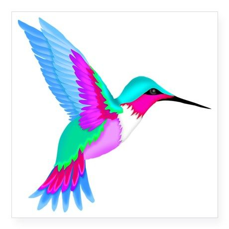 "hummingbird 2 square sticker 3"""