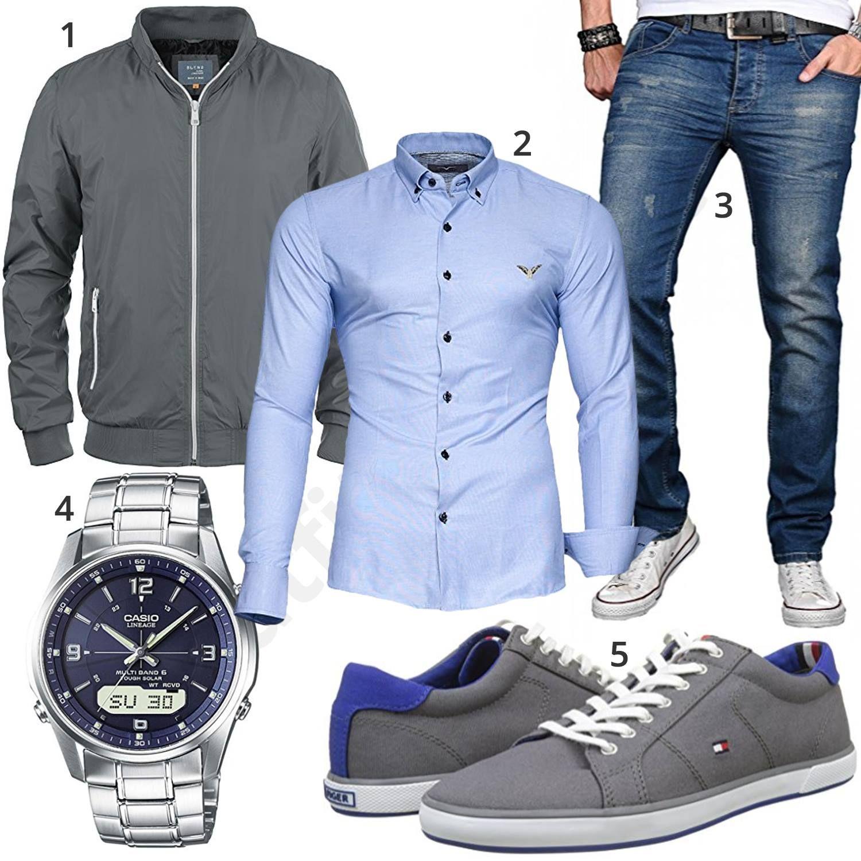 Herren Style mit hellblauem Hemd und grauer Jacke | Mode