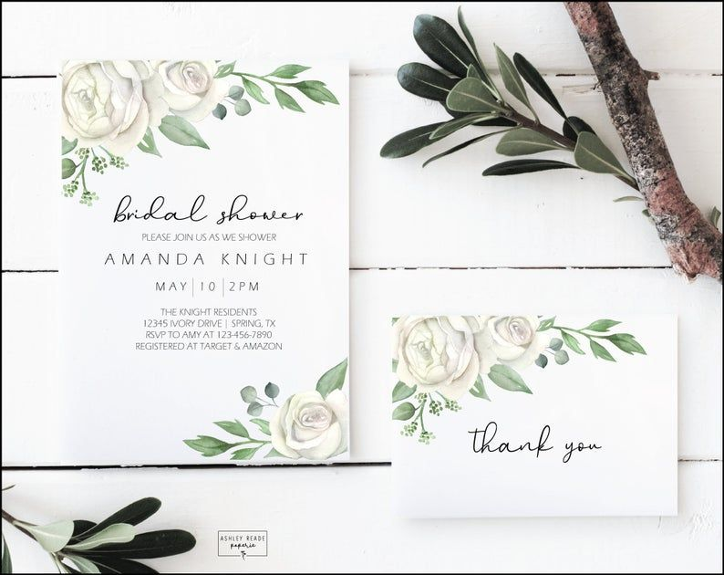 Ivory rose bridal shower invitation and thank you card