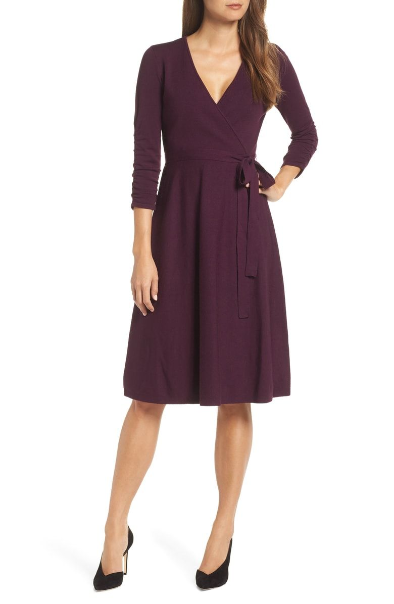 6db4bf5f12 Free shipping and returns on Eliza J Faux Wrap Sweater Dress at Nordstrom.com.  This universally flattering wrap-look dress in a drapey jersey stitch ...