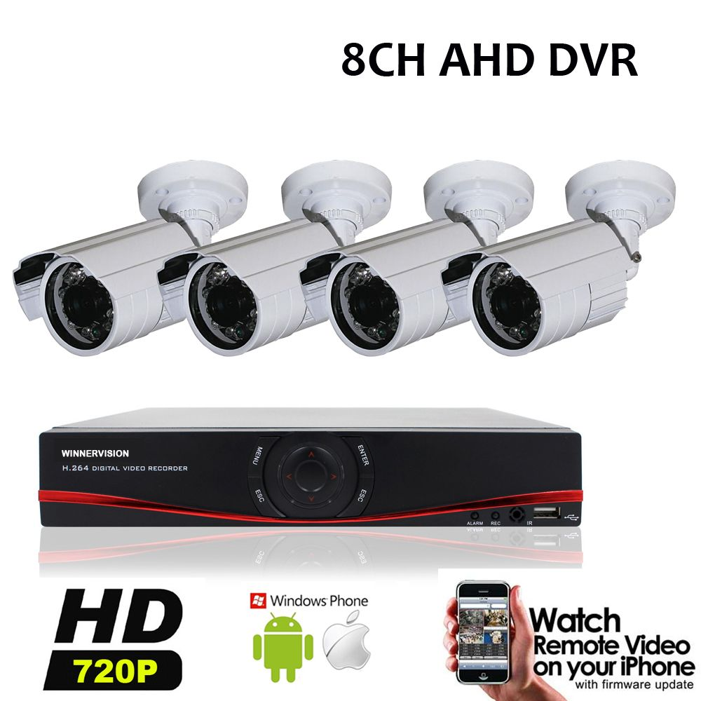 8Channel CCTV System Home Security 8CH DVR Full HD 720P Outdoor ...
