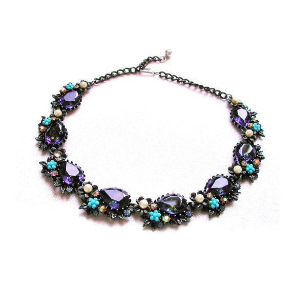 60's Signed ART Blue Heliotrope Rhinestone Necklace from Morning Glorious Vintage
